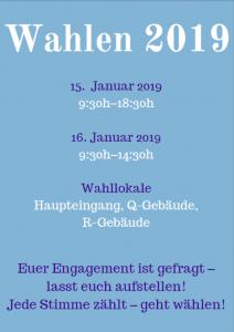 Studentische Wahlen 2019 @ Universität Vechta - Haupteingang, Foyer R- & Q-Gebäude