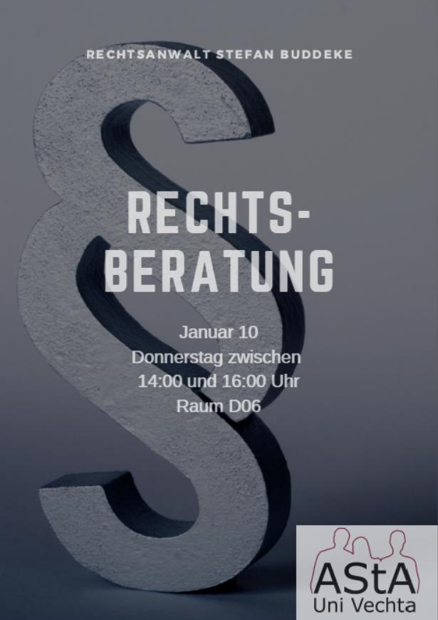 Rechtsberatung für Student*innen @ Büro AStA Uni Vechta, D 06