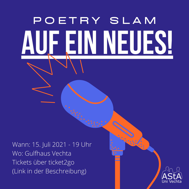 Liebe Wortkunstliebhaber*innen, Es ist wieder so weit: Ein Poetry Slam steht an! Nach einer gefühlten Ewigkeit ohne Kulturveranstaltungen in Präsenz ist es nun endlich wieder möglich.  Wir freuen uns riesig das Team von Spoken Nord in Vechta begrüßen zu dürfen. Fünf erstklassige Slammer*innen werden uns am 15. Juli 2021 ab 19 Uhr im Gulfhaus Vechta mit Sprechbeiträgen in ihre Welt der Worte mitnehmen. Die Slam-Profis Sebastian Butte und Simeon Buß aus Bremen bitten dabei fünf Slammer*innen zum wortreichen Schlagabtausch um die Gunst des Publikums, welches über Wohl und Übel, über Sieg und Niederlage entscheidet. In diesem Dichter*innenwettstreit, bei dem natürlich trotzdem Literatur und Performance im Vordergrund stehen, messen sich: Friedrich Herrmann (Jena) Leticia Wahl (Kassel) Anna Teufel (Nürnberg) Lennart Hamann (Hamburg) Florian Stein (Bochum) Die Veranstaltung wird präsentiert vom AStA der Universität Vechta und Spoken Nord – Poetry Slam in Bremen & Drum sowie dem Jugend Kultur Verein Oldenburger Münsterland e.V. Der Abend findet im Gulfhaus Vechta statt. Es handelt sich um eine reine Studi-Veranstaltung. Karten erhaltet Ihr auf der Seite Ticket2go ticket2go - mehr live erleben! Der Poetry Slam kann nur stattfinden, wenn es die dann geltenden Corona-Maßnahmen erlauben. Es kann zu Einschränkungen durch tagesaktuelle Regeln auf Grund der Corona-Pandemie kommen. Aktuell können nur Personen teilnehmen, die geimpft (14 Tage nach 2. Impfdosis), Genesen (28 Tage danach) oder negativ getestet (tagesaktuell) sind. Wir freuen uns auf zahlreiche Interessierte und Slam-Begeisterte.